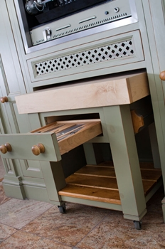 Bespoke mobile chopping block with knife drawer