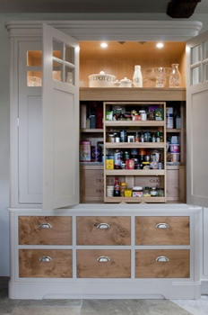 Pantry Interior - Chefs Pantry Cabinet painted in Elephants breath with pippy oak drawers