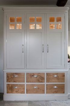 Chefs pantry cabinet painted in Elephants breath with pippy oak drawers
