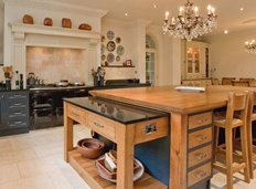 AGA range with bespoke hand painted over mantle
