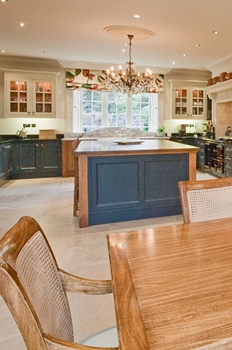 Combination of rich blue hand painted & oak cabinets