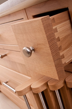 Solid dovetailed drawer boxes are standard with Osborne Of Ilkeston cabinets
