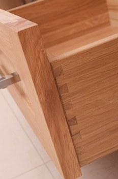 Solid dovetailed drawer boxes are standard with Osborne Of Ilkeston cabinets.